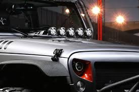 jeep accessories lights hood light bar kit 5 round led lights 07 17 jeep wrangler jk
