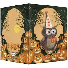 hand painted halloween greeting card with retro vintage feel with owl