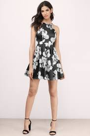 Trendy Black Multi Skater Dress High Neck Dress Skater Dress