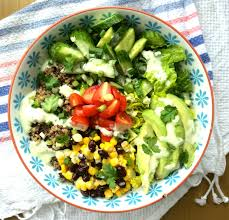healthy recipe quinoa burrito bowls with spicy green goddess