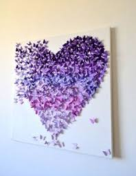 RESERVED for Mari Purple Ombre Butterfly Heart 3D Butterfly Art