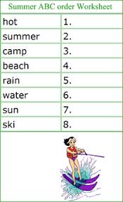 summer english worksheets summer words alphabetical worksheets