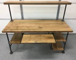 Wooden Desk With Shelves Computer Desk Reclaimed Wood Desk Office Desk Table Rustic