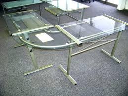 Techni Mobili Graphite Frosted Glass L Shaped Computer Desk Z Line Belaire Glass L Shaped Computer Desk Kitchen
