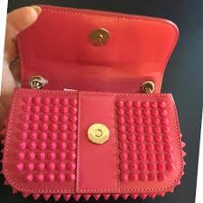 christian louboutin sweet charity spike pink clutch tradesy
