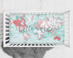 world map crib sheet etsy