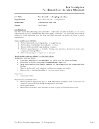 resume sample for housekeeping job in hospital