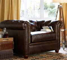 Leather Chesterfield Style Sofa Chesterfield Leather Armchair Pottery Barn