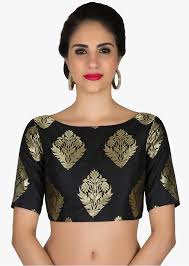 readymade blouses readymade black silk brocade blouse with floral motifs kalkifashion