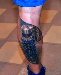 biomechanical tattoo for knee 60 awesome calf tattoo designs ever made golfian com