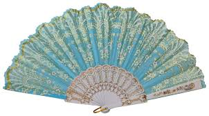 decorative fan decorative folding silk fan light blue with gold flower pattern