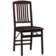 Dining Folding Chairs Linon Triena Mission Back Vinyl Folding Dining Chair In Espresso