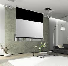 distance ecran videoprojecteur canapé système d installation d écran de projection sur poutre en bois