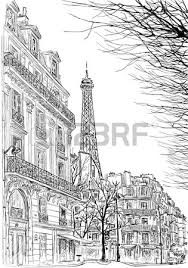 sketch of parisian street with trees and the eiffel tower in