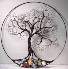 wire tree of ancient spirit sculpture with by crowsfeathers