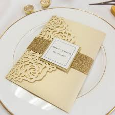 wedding invitations glitter luxury pale gold laser cut pocket wedding invitations with
