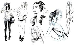 sketches of people drawing pencil