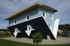 this blue house seems weird from the outside but when you step