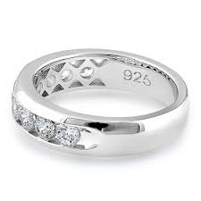 silver mens wedding bands silver men s wedding band cz rings