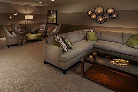 Bronze Floor L Basements Basement Traditional With L Shaped Seating