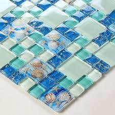 tst glass conch tiles beach style sea blue glass tile green glass