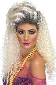 amazon com smiffy u0027s women u0027s long curly blonde 80 u0027s wig with quiff