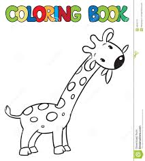 coloring book of little funny giraffe stock illustration image