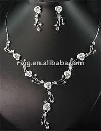 white rose necklace images Bridal rhinestone diamond white rose necklace earrings set buy jpg