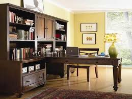 office desk interior long brown wooden corner desk with drawers
