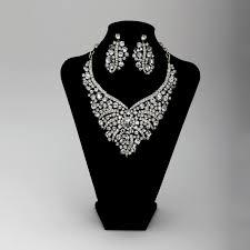 wedding jewelry bib necklace rhinestone bridal wedding jewelry set