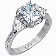 trillion engagement ring simon g halo emerald cut three trillion engagement ring