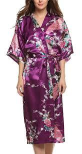 kimono robe de chambre femme e darter soie artificielle paon fleur robe de chambre kimono femme