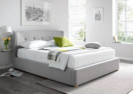Grey Upholstered Ottoman Bed Rhapsody Wolf Grey Upholstered Ottoman Bed Frame Storage Beds Beds