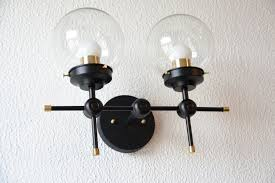 Gold Vanity Light Free Shipping Wall Sconce Black And Gold Brass 2 Globe Modern