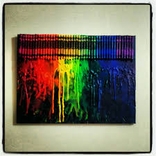 Hair Dryer Glue glue crayons on canvas or board and melt with hair dryer my