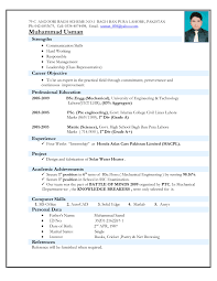 resume format it professional simple fresher mechanical engineer resume format doc mca fresher