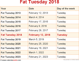 when is tuesday 2018 2019 dates of tuesday