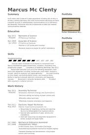 Electronic Resume Example by Assembly Resume Samples Visualcv Resume Samples Database