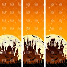 halloween castle background old red brick castle on blue sky background cartoon style vector