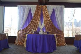 backdrop rentals wedding ideas gold sequin ivory drapery backdrop for table