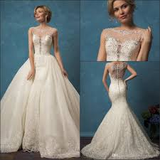 2017 new sheer cap sleeves lace mermaid wedding dresses amelia