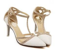 wedding shoes t bar high heel white rhinestone wedding shoes ankle t bar
