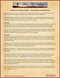 southern gospel music the origin and history by gary harbin via