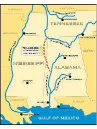 tombigbee waterway map tennessee tombigbee waterway encyclopedia of alabama