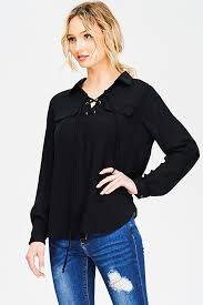 womens black blouse shop wholesale womens black laceup front faux flap pocket
