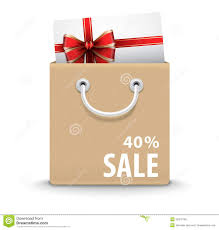 shopping bag with gift card and discount text royalty free stock