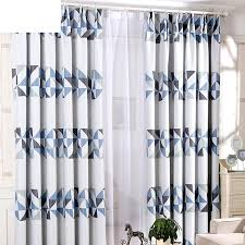 Gray Blue Curtains Designs Gray Blue Modern Style Polyester Cotton Geometric Curtains