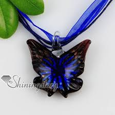 flowers with butterfly necklace images Butterfly with flowers inside glitter lampwork murano italian jpg