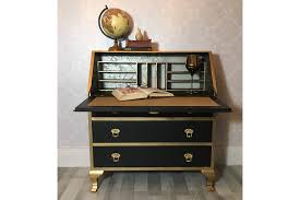 vintage writing desk vintage writing bureau black and gold vintage
