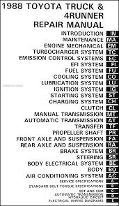 1988 toyota pickup truck 4runner repair shop manual